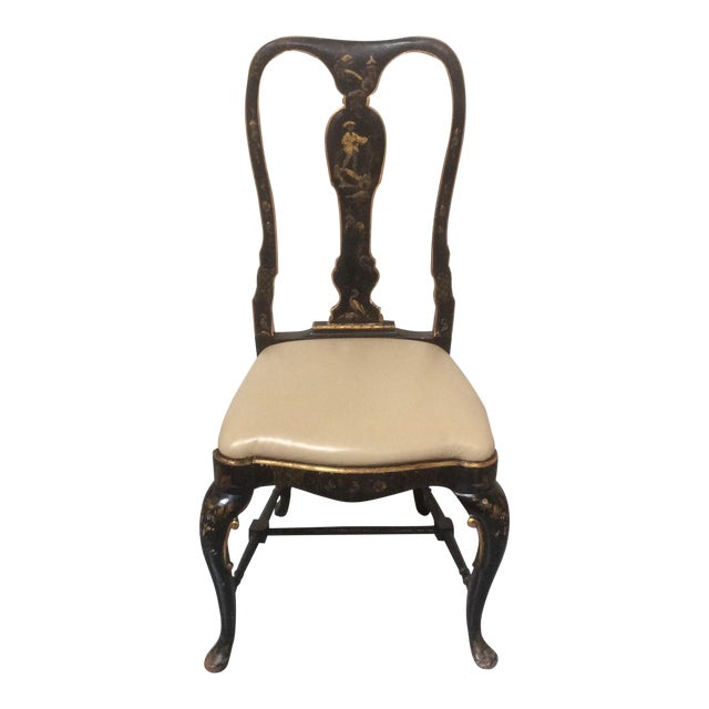 Antique Chinoiserie Desk Chair With Leather Seat For Sale
