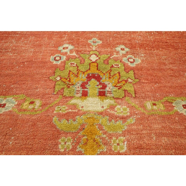 Distressed Antique Turkish Oushak Rug - 14'07 X 15'05 For Sale - Image 4 of 10