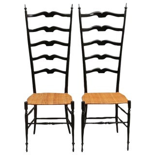 Pair of Midcentury High Back Ebonized Chiavari Chairs For Sale