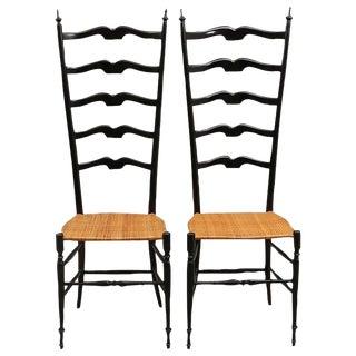 Pair of Midcentury High Back Ebonized Chiavari Chairs For Sale