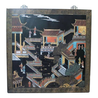 1960s Asian Chinoiserie Courtyard Scene Wooden Carved Wall Art Panel