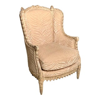 French Louis XVI Style Bergère Armchair With Silk Velvet Upholstery For Sale