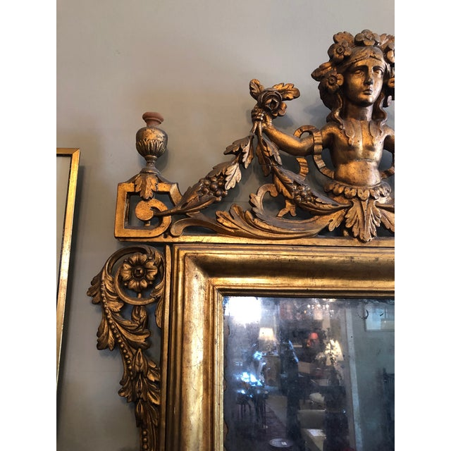 Early 19th Century Antique Neo Classical Carved Wood Italian Gilt Mirror For Sale - Image 4 of 12