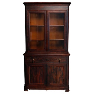 Antique Victorian Rosewood Secretary Drop Front Desk With Bookcase, Circa 1870 For Sale