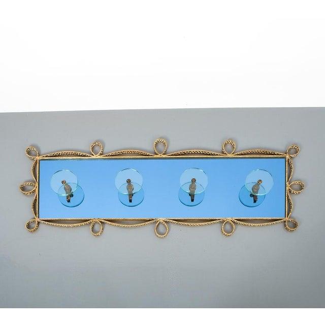 Pierluigi Colli Coatrack Wall Wardrobe Iron Blue Glass Mirror, Italy 1950 For Sale - Image 10 of 10