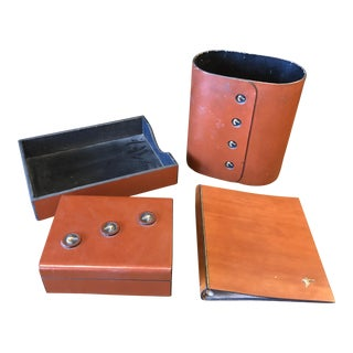 Handmade Leather Desk Set - Set of 4 For Sale