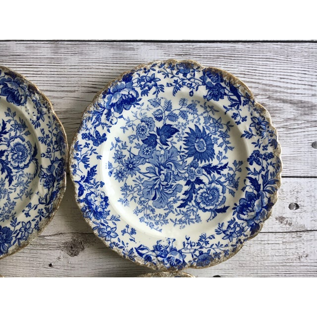 Cottage Vintage Blue & White Chintz Transferware Plates - Set of 8 For Sale - Image 3 of 8