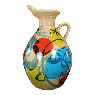 Peter Keil Painted Abstract Faces Jug For Sale