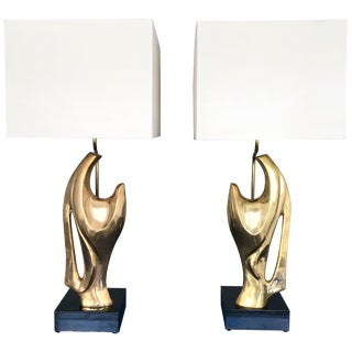Pair of Bronze Lamps by Alain Chervet, France, 1970s For Sale