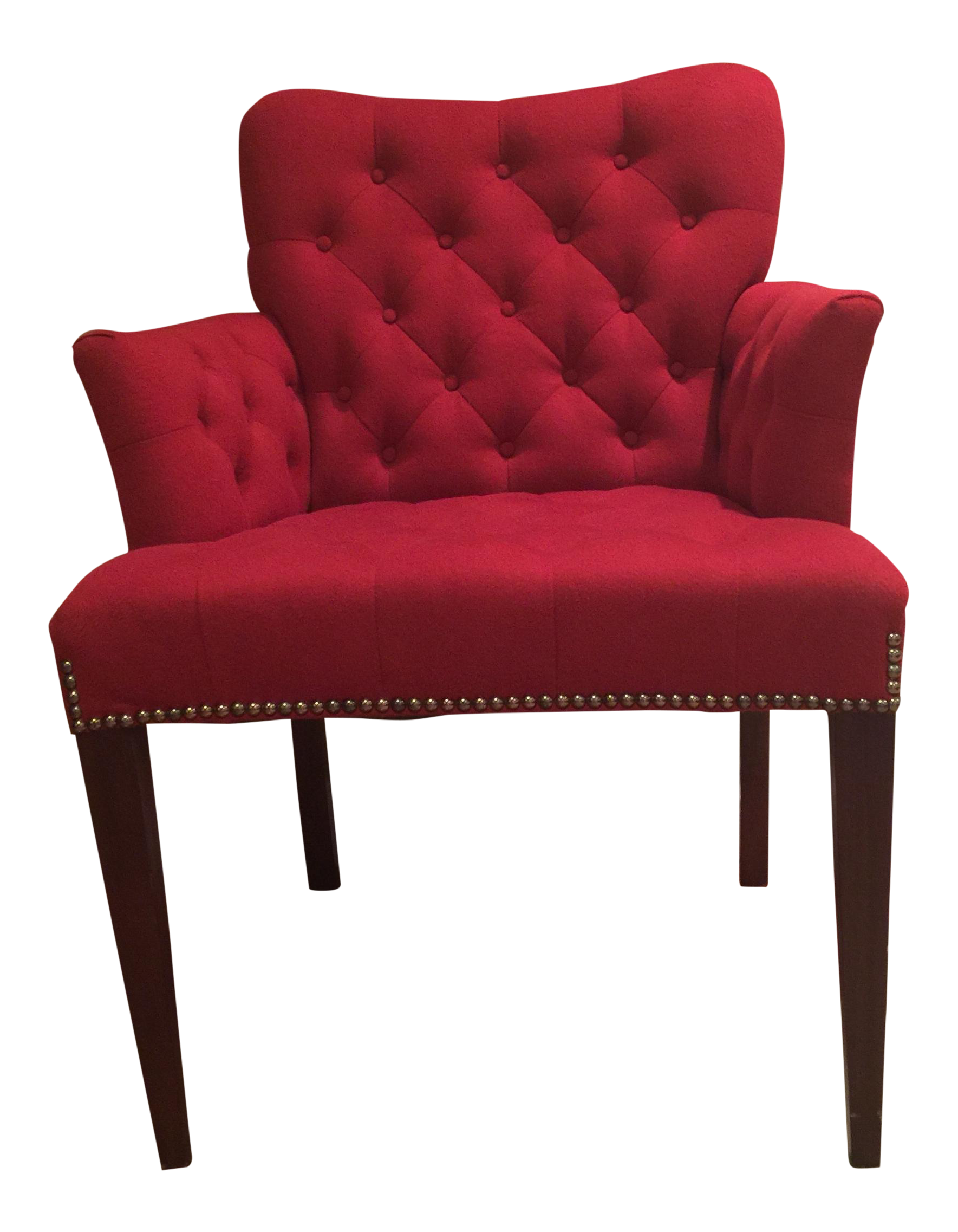 Merveilleux Red Felt Vanity Chair