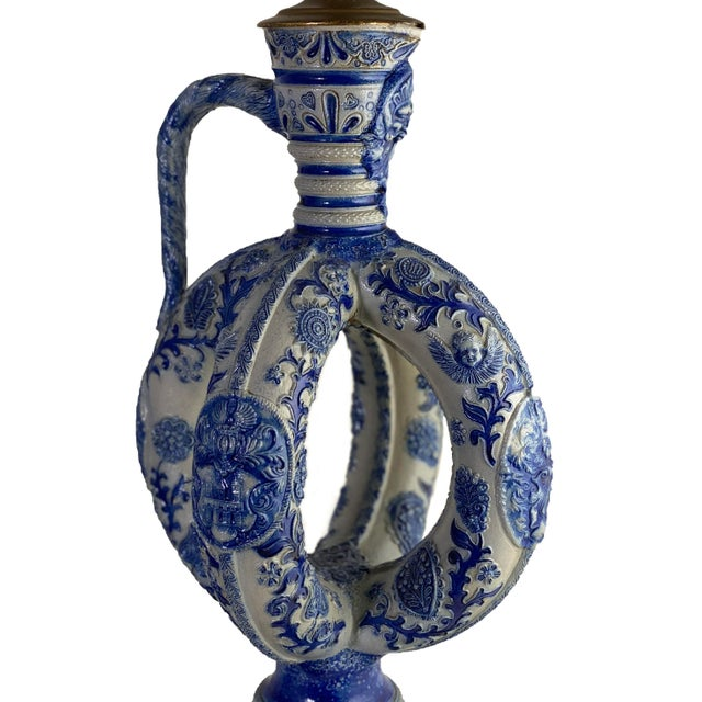 Late 19th Century Cobalt Blue Salt Glazed German Double Ring Flask as Lamps - a Pair For Sale - Image 5 of 9