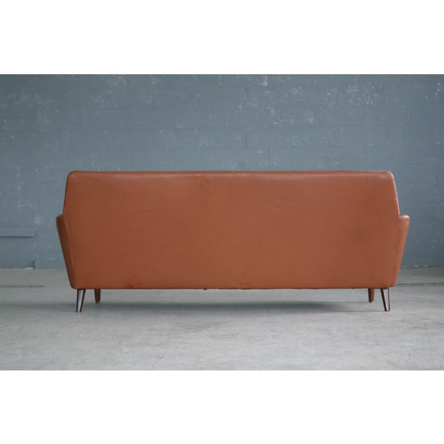 Danish Mid-Century Sofa In Cognac Leather For Sale - Image 9 of 10