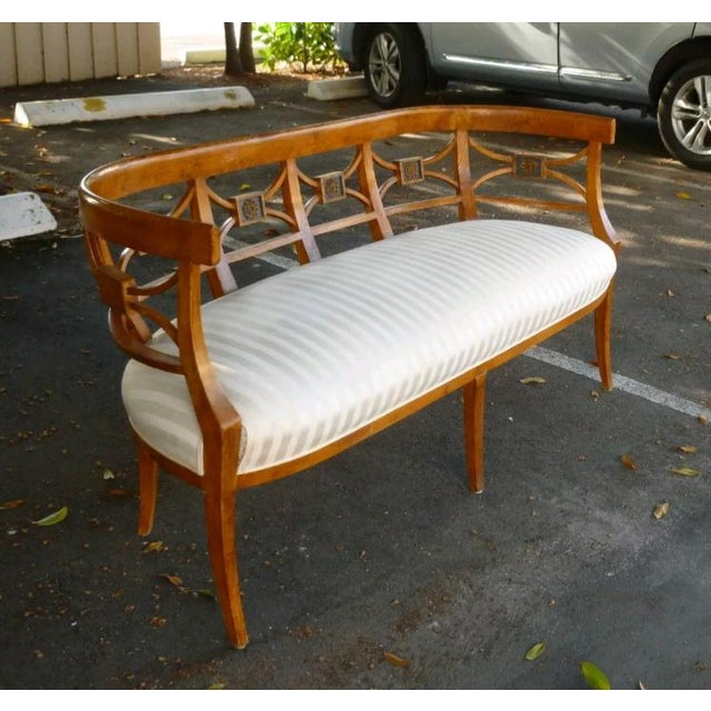 Neoclassical 19th C Italian Neoclassical Fruitwood Settee For Sale - Image 3 of 10