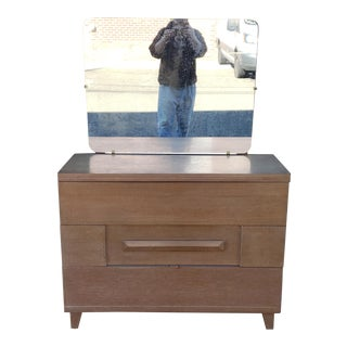 Vintage Early Mid Century Tri-Bond III Furniture 3 Drawer Chest W/ Mirror C1940 For Sale