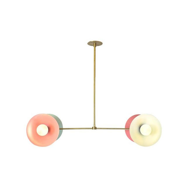 Contemporary Polarize Pendant Light in Brass With Celadon & Pink Enamel by Blueprint Lighting For Sale - Image 3 of 5