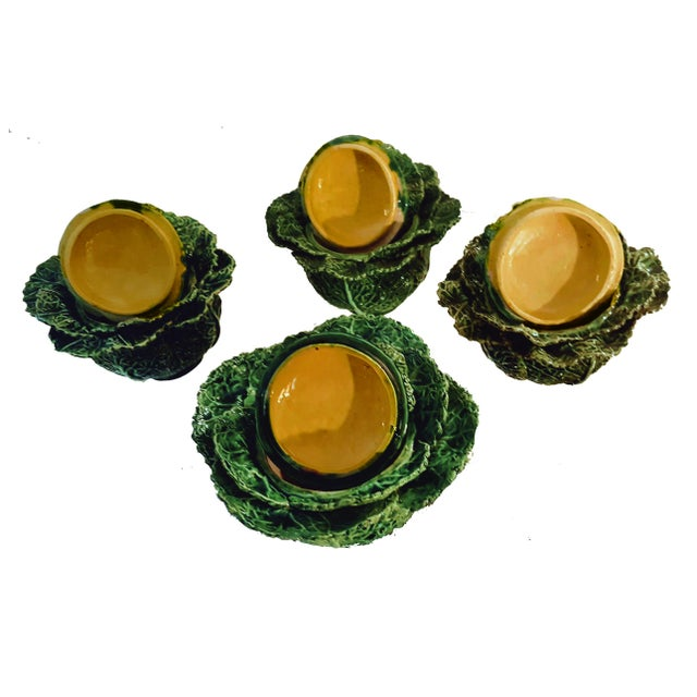 This is a set of 4 original vintage Portuguese Majolica, green cabbage leaf single serve tureens with covers. The leafy...