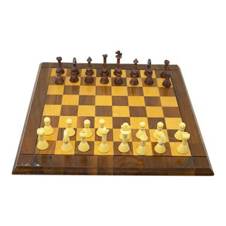 Vintage Wooden Chess Set For Sale