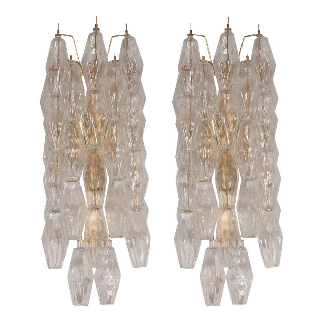 Pair of Handblown Murano Glass Polyhedral Sconces with Brass Fittings For Sale