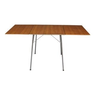 Arne Jacobsen for Fritz Hansen Teak and Chrome Drop Leaf Table For Sale