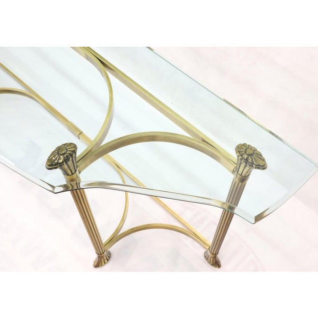 Bent Brass Base Curved Glass Top Figural Console Sofa Table For Sale - Image 10 of 13