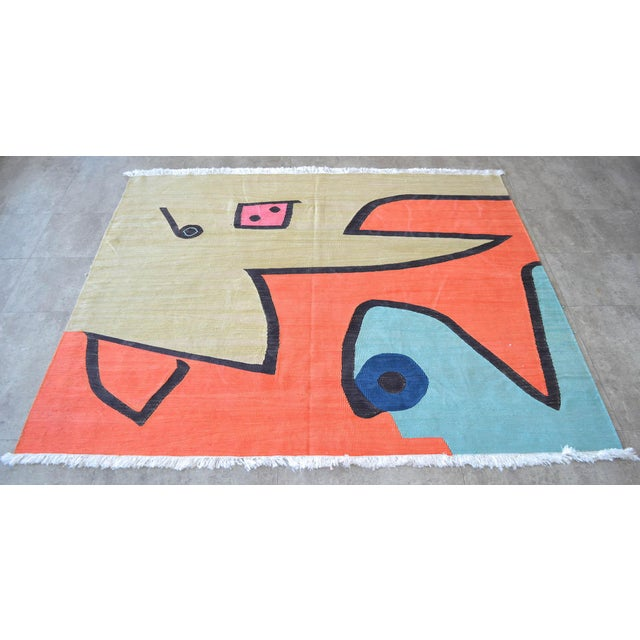 Paul Klee Paul Klee - Silence of the Angel - Inspired Silk Hand Woven Area - Wall Rug 4′7″ × 5′7″ For Sale - Image 4 of 11