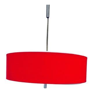1990s Vintage Red Silk Textured Drum Pendant Hanging Light For Sale