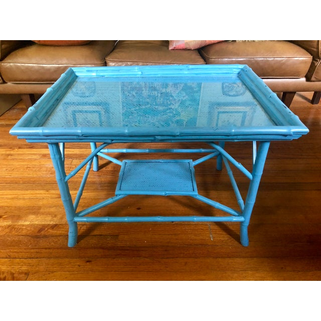 Turquoise Blue Bamboo Rattan Table For Sale - Image 4 of 10