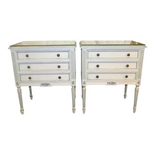 Blue & White Carved Nightstands - A Pair