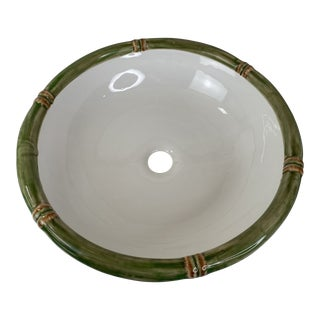 Hand Painted Ceramic Bamboo Detailed Rounded Brazilian Bathroom Sink For Sale