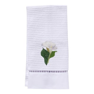 Calla Lily Guest Towel White Waffle Weave, Ladder Lace, Embroidered For Sale