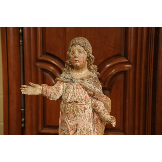 French 17th Century French Hand-Carved Polychromed Painted Statue of Saint on Stand For Sale - Image 3 of 11
