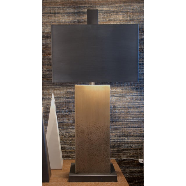Square Bronze Table Lamp With Metal Shade - Image 7 of 7