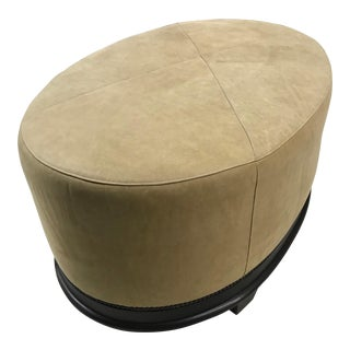 Modern Baker Barbara Barry X-Stitched Oval Ottoman For Sale