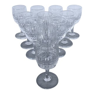Hand Cut Vintage Holiday Cordial Glasses a Set of 11 For Sale