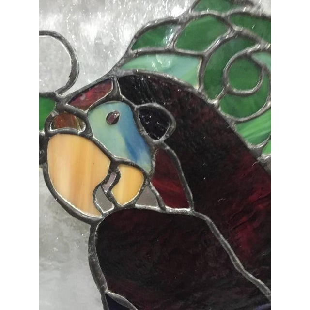 Mid-Century Modern Stained Glass of Two Parrots in Wood Frame For Sale - Image 3 of 10