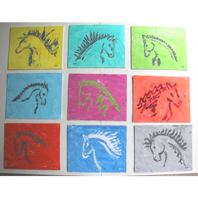 Blue Horse Head Profile Paintings by Cleo Plowden - Set of 9 For Sale - Image 8 of 8