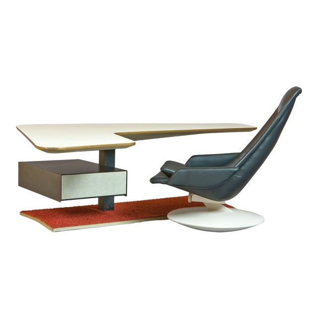 1970s Atomic Age Boomerang Desk and Gemini Leather Armchair - 2 Pieces For Sale