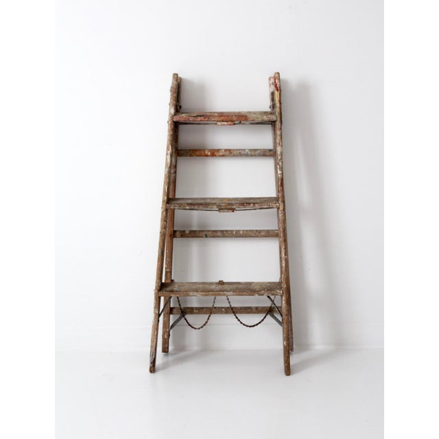 Cottage Vintage Wooden Folding Ladder For Sale - Image 3 of 11
