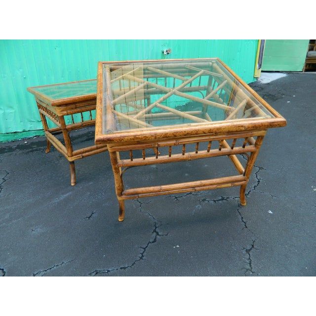 Vintage Mersman Rattan Chippendale End Tables - a Pair - Image 2 of 7