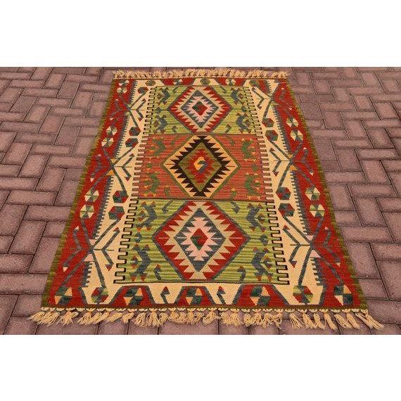 "Vintage Kilim Medium Size Rug Turkish Anatolian Handmade Rug Home Decor Multi Colored Kelim rug Size - 3'7"" X 6'2"" - 110 x..."