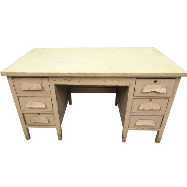 Vintage Six Drawer Oak Wood Desk For Sale
