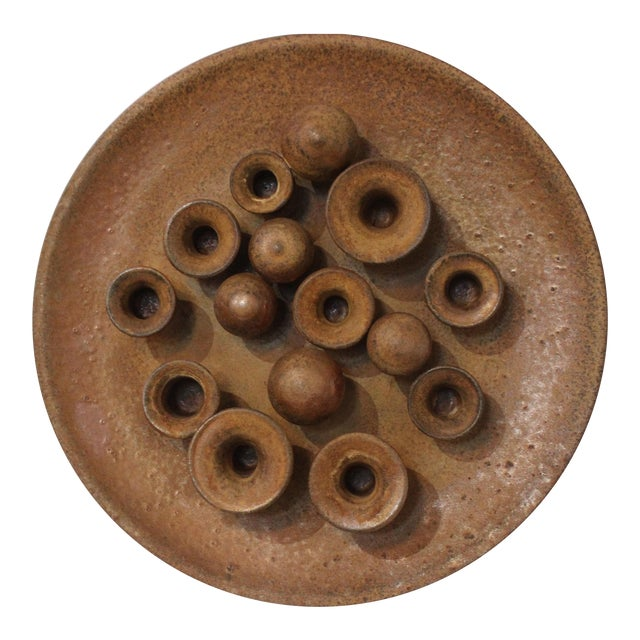 Earthenware Round Motif Wall Signed Sculpture Midcentury Italy For Sale