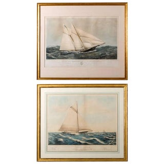 Near Pair of 19th Century Painted Lithographs of Yachts For Sale