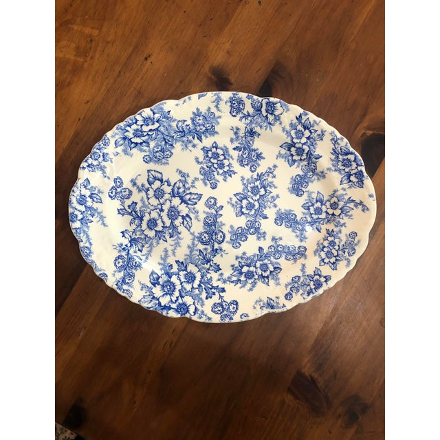 """Ceramic 1940s Taylor Smith Taylor China """"Dogwood"""" Blue Oval Platter For Sale - Image 7 of 7"""
