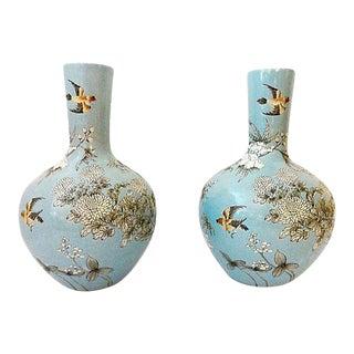 """Onion Shape Blue Porcelain pair of vases 17.25"""" h"""