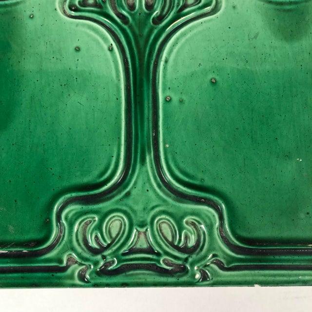 Art Nouveau Emerald Green Glazed Tree Ceramic Tile For Sale - Image 4 of 11