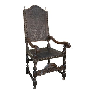 19th Century Spanish Embossed Leather Armchair For Sale