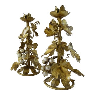 Hollywood Regency Italian Florentine Tole Candle Holders a Pair For Sale