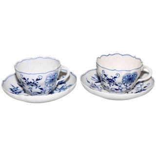 Mid-Century Modern Meissen Porcelain Blue Onion Cups and Saucers - a Pair