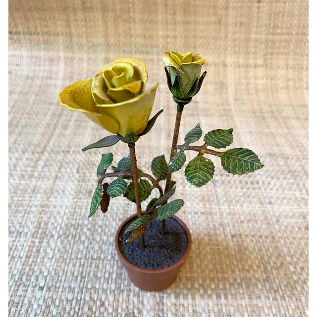 Vintage Italian Potted Tole Yellow Roses For Sale - Image 4 of 7